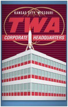 Kansas City, Mo. TWA headquarters building. Rocket previously stood in Disneyland's Tomorrowland.