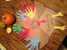 Thankful Turkey: trace hands, write down 5 reasons to give thanks, glue to a circle, enjoy the love