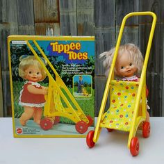 Vintage 1980 MATTEL TIPPEE TOES DOLL with STROLLER ~ In Original Box ~ #3242 #Mattel #Doll #Stroller #TippeeToes