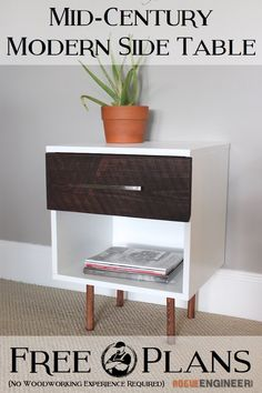 DIY Mid Century Modern Side Table Plans  | http://rogueengineer.com/ #DIYFurniturePlan #SideTable