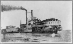 "Ill-fated ""Sultana,"" Helena, Arkansas, April 27, 1865.  Photograph shows the overloaded steamboat Sultana on the Mississippi River the day before her boilers exploded and she sank on April 27th. The passengers included ca. 1,880 Union soldiers heading home at the end of the Civil War; more than 1,100 of these men died in the disaster."