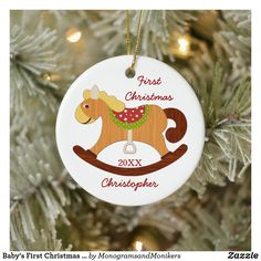 Baby's First Christmas Rocking Horse Ornament Baby First Christmas Ornament, Baby Ornaments, Babies First Christmas, Christmas Tree Ornaments, Christmas Holidays, Christmas Cards, Baby Design, Personalized Baby, Horse