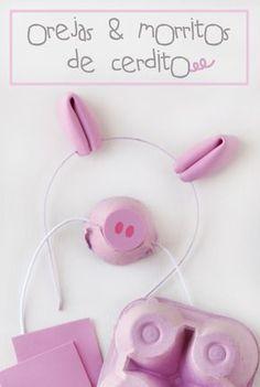 Hoy por fin os traigo uno de mis DIY favoritos de la fiesta de Peppa Pig, los complementos perfectos para un disfraz de cerdito… orejas y morritos! Empezamos por los más sencillo, los morritos; necesitamos: huevera rosa (con una salen 4 morritos, porque usamos los extremos) goma elástica blanca (o rosa mejor, yo no encontré) punzón tijeras goma eva rotulador …