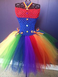 Rainbow Tutu dress size 6 long from waist to hem by SunshinesTutus, $23.00