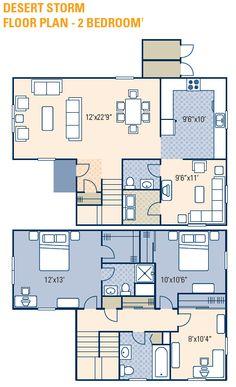 NAS JRB Fort Worth – Desert Storm Neighborhood: 2 bedroom town home floor plan