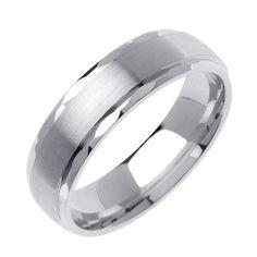 MENS 14K WHITE GOLD WEDDING BAND RING