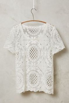 at anthropologie Cutwork Lace Tee in ivory Fasion, Fashion Outfits, Tee T Shirt, Lace Tee, Blouse Outfit, Cutwork, Couture, Summer Tops, Spring Summer Fashion