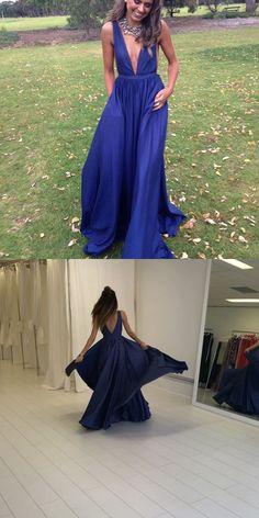 navy blue long prom dress evening dress, 2017 long evening dress, deep V neck long homecoming dress