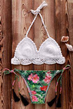Crocheted Halter Floral Print Bikini Set   http://www.zaful.com/crocheted-halter-floral-print-bikini-set-p_181958.html
