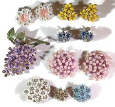 Vintage Enameled Flower Jewelry Lot with Rhinestones, Brooches, Earrings #MentionMonday #Mothers_Day #giftideas