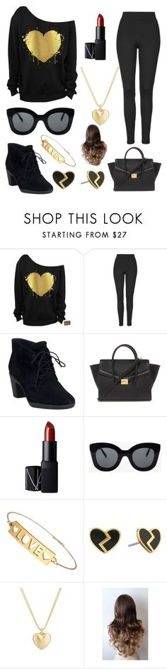 """""""love is golden"""" by winternightfrostbite ❤ liked on Polyvore featuring Topshop, Clarks, Forever 21, NARS Cosmetics, CÉLINE, Marc by Marc Jacobs, Finn, women's clothing, women's fashion and women"""