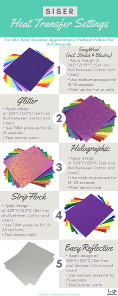 Confused how to apply heat transfer vinyl? Use our heat settings chart to help guide you with temperature, pressure and peel. Vinyle Cricut, Cricut Vinyl, Cricut Heat Transfer Vinyl, Vinyl Crafts, Vinyl Projects, Shilouette Cameo, Cricut Explore Projects, Circuit Crafts, Cricut Craft Room