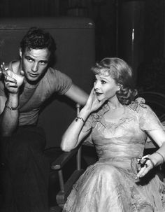Marlon Brando and Vivien Leigh taking a break during the filming of A Streetcar Named Desire, 1951.