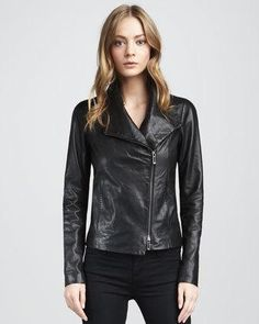 Women's Vince Leather Jacket, Black