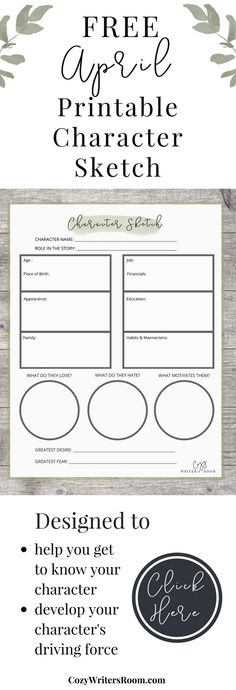 This free creative writing printable is part of the Cozy Writer's Room April package! It is a great way to start developing characters for your novel or short story. Sign up before March 31 to get it delivered to your inbox!