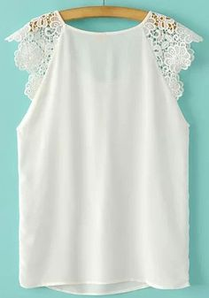 White Patchwork Lace Sleeveless Wrap Blouse - Blouses - Tops