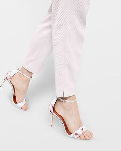 Charv, Oriental Blossom leather ankle strap sandals - Light Gray | Shoes | Ted Baker