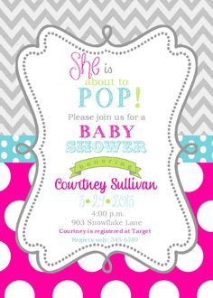 Girls Baby Shower Invitations Digital or printable file- ready to POP by noteablechic on Etsy