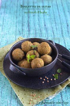 boulettes végétales - seitan, brocoli & kasha (sarrasin grillé)  http://www.la-gourmandise-selon-angie.com/archives/2014/10/23/30668578.html