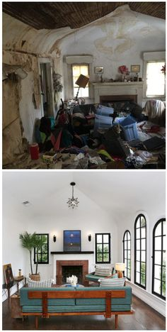 house makeover - from disgusting Hoarder's home to stunning Spanish revival - you won't believe the before and afters!
