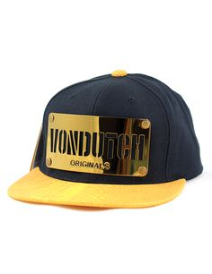 07db6f24f38 Von Dutch Metal Plate Snapback Hat (Gold)    Premium K-Pop Cap Store    K-Pop  Hat    Korean Fashion    Metal Plate Hats