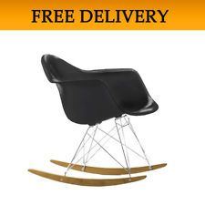 BLACK Eames Rocker Chair RAR Rocking Armchair Retro Lounge Furniture FREE POST