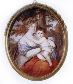 """Grand Duchess Elizabeth Alexeievna Romanova of Russia and her eldest daughter,Maria Alexandrovna,who died when she was just over a year old. """"AL"""""""
