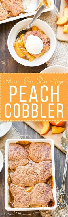 This Peach Cobbler has a crispy, fluffy topping with a simple peach filling - it's the most perfect summer dessert! This is a gluten-free, Paleo, and vegan treat that you don't want to miss. | Posted By: DebbieNet.com |