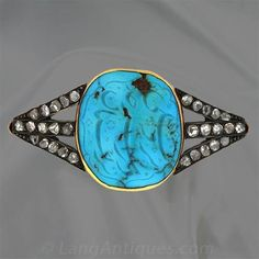 Victorian Carved Turquoise and Diamond Pin - 50-1-433 - Lang Antiques
