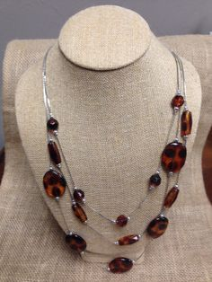 Long Brown Beads with Earrings