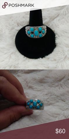 💣PRICE DROP💣Sleeping Beauty Turquoise Ring Excellent Condition. From my own personal collection. Size 10.  Sleeping Beauty Cabachons encased in Sterling Silver. Low Profile. Questions? Please ask. No Low Ball Offers Accepted!! Jewelry Rings