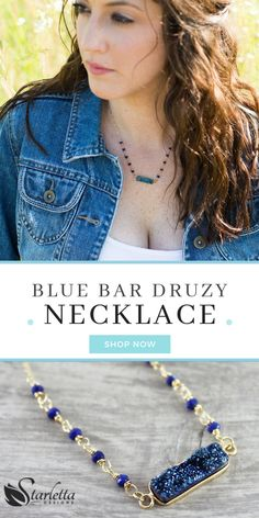 This handmade blue druzy bar necklace is made from quartz cut into a rectangle silhouette. 4mm lapis lazuli gems add the perfect accent to this 14k gold chain necklace with spring clasp. A great gift for the moms, daughters, sisters and best friends in your life. Available at #starlettadesigns  #bluenecklace #gemstonenecklace #bohostyle #bohofashion #gemstone #druzy #birthstonenecklace #blue #jewelry #handmade