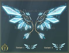 Magic items adopts 20 (CLOSED) by Rittik-Designs on DeviantArt Anime Weapons, Fantasy Weapons, Dessin Animé Lolirock, Magic Wings, Wings Drawing, Magic Symbols, Magical Jewelry, Wings Design, Weapon Concept Art