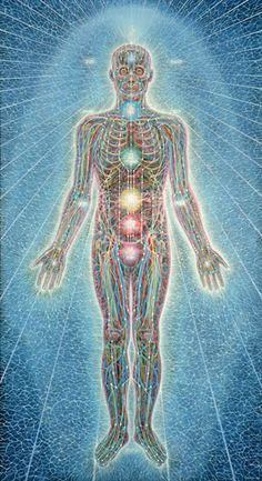 Psychic Energy System by Alex Grey 1980, Acrylic on Linen, 84x46 in. ~The Sacred Mirrors series