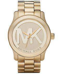 Michael Kors Watch, Women's Runway Gold Plated Stainless Steel Bracelet 45mm MK5473