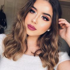 Hair Color Cambio De Look Corto Ideas Prom Makeup Looks, Natural Makeup Looks, Cute Makeup, Glam Makeup, Beauty Makeup, Hair Makeup, Hair Beauty, Natural Makeup For Brown Eyes, Pretty Makeup