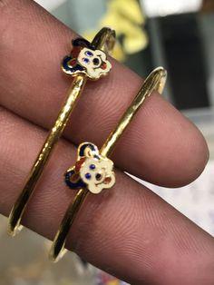 #KidsGoldJewellery Kids Gold Jewellery, Baby Jewelry, Kids Jewelry, Simple Jewelry, Bridal Jewelry, India Jewelry, Plain Gold Bangles, Baby Bling, Baby Bracelet