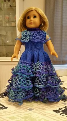 Ravelry: American Girl Doll Southern Belle Dress pattern by Elaine Phillips Girls Knitted Dress, Crochet Doll Dress, Crochet Doll Clothes, Girl Doll Clothes, Girl Dolls, Ag Dolls, Knitted Dolls, Barbie Clothes, Barbie Doll
