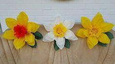 3x Medium 28cm Daffodil Paper Flower pom-pom Easter Wedding Decorations
