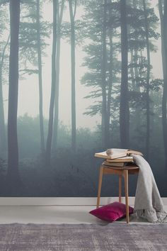 One of our most popular forest wallpaper murals and it's easy to see why. Beautiful hushed tones of greys mingle with soft blue hues, creating the perfect palette of colours for a Scandinavian interior. This forest wallpaper design works wonderfully in both bedroom and living room spaces.