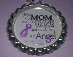 Pancreatic Cancer Awareness Bottle Cap Necklace - My Mom Was so Brave... $4.00