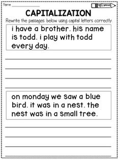 Capitalization:This product contains 14 worksheets that focus on capitalization. Each worksheet features 2 passages that have to be written again using correct capitalization.The passages vary in difficulty for easy differentiation.This product is aligned to the following Common Core standards:L.1.2 a: Capitalize dates and names of peopleL.2.2 a: Capitalize holidays, product names, and geographic names.