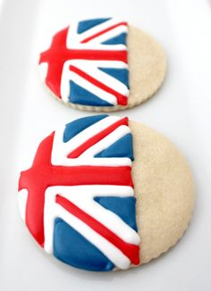 union jack biscuits (yes! biscuits, not cookies! Iced Shortbread Cookies, Iced Cookies, Biscuit Cookies, Cut Out Cookies, Royal Icing Cookies, Sugar Cookies, Shortbread Biscuits, Britain's Got Talent, Iced Biscuits