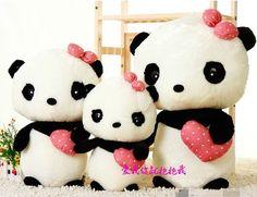 "17 7"" New Bowknot Design Super Kawaii Cute Panda Plush Toy Perfect Gift Doll B07 | eBay"