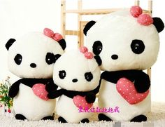 "17 7"" New Bowknot Design Super Kawaii Cute Panda Plush Toy Perfect Gift Doll B07 