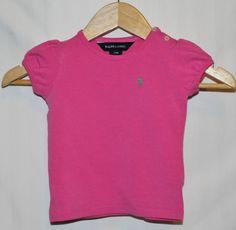 RALPH LAUREN GIRLs TShirt CoTToN SIZE 24 MTHS SUMMeR Deep Pink BUTTON NECK#CL189