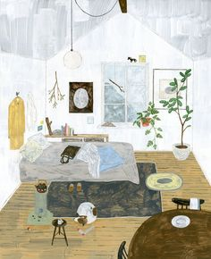 """""""I've always been a fan of artists drawing or painting interior spaces. It's even more exciting when they illustrate their own. Thus, when I happened upon the work of Japanese artist Fumi Koike, I w. Art And Illustration, Illustrations And Posters, Project Life Karten, Japan Design, World Of Interiors, Poster S, Blog Deco, Art Graphique, Art Design"""