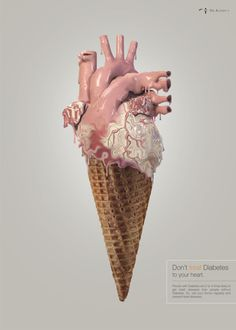 Greenroom Advertising, Mumbai, India – Don't treat Diabetes to your heart. People with Diabetes are 2 to 4 times likely to get heart diseases than people without Diabetes. So, visit your doctor regularly and prevent Heart diseases. Medical Art, Anatomical Heart, Human Heart, Anatomy Art, Creative Advertising, Grafik Design, Heart Art, Print Ads, Food Art