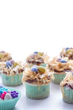 Angel Food Cupcakes with Chocolate Whipped Coconut Frosting + Crispy Phyllo Nest.-1