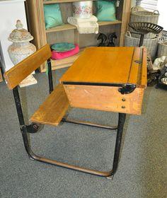 Old School Desk with fold away seat 1950s Solid wood desk Original Retro desk